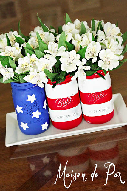 flag jars full angle DIY: Red, White & Blue Mason Jars!