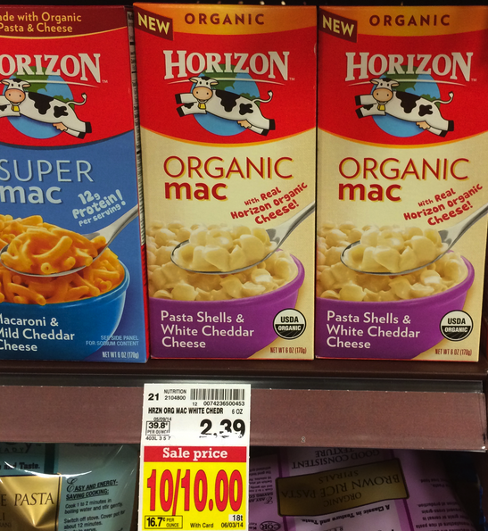 horizon HOT! Horizon Organic Mac & Cheese ONLY $0.45 at Kroger!