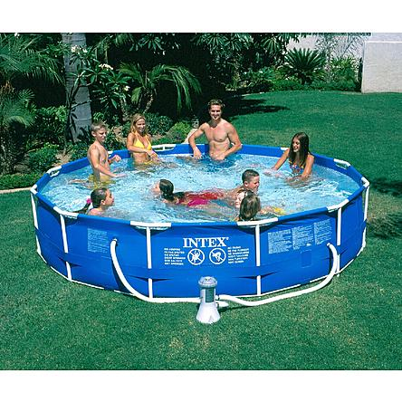 Intex 12ft x 30in round frame pool package only shipped reg - Intex 12x30 metal frame pool ...