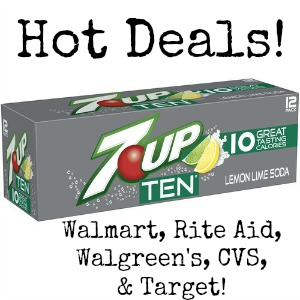 7UP TEN 12 pack 7UP TEN Deals: Rite Aid, Walgreens, CVS, Target and Walmart!