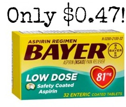 BAYER Bayer Aspirin Only $0.47 at Rite Aid!