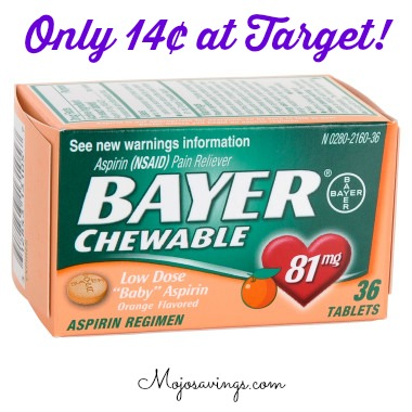 bayer 1 Bayer Chewable Low Dose Aspirin Only 14¢ at Target!