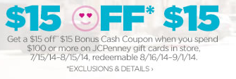 bonuscash JCPenney Extra 15% Off Coupon (Includes Clearance!)!