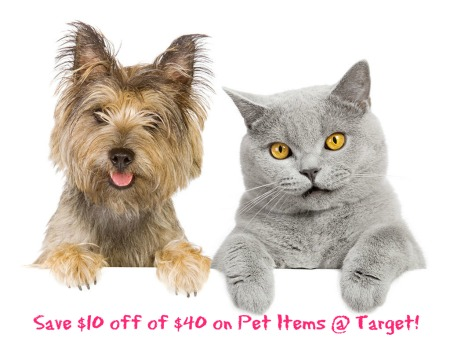 cat and dog1 $10 off $40 Pet Product Target Coupon + Stackable Coupons!