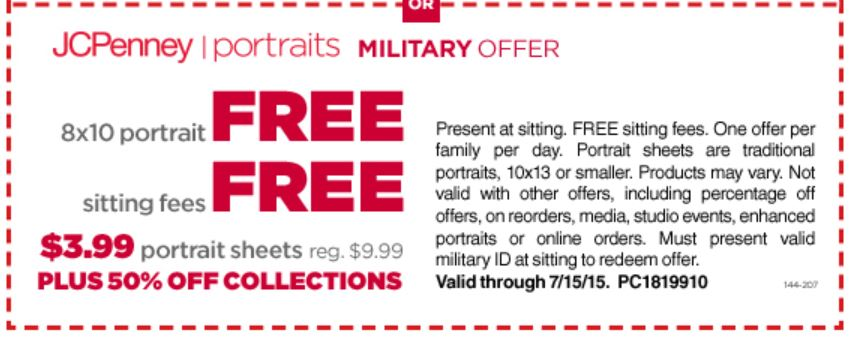 jcp FREE 8x10 Portrait From JC Penney for Military!