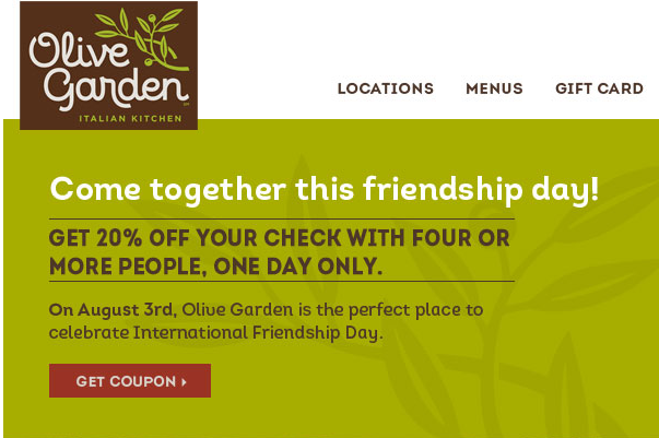 olive garden2 HOT! RARE 20% Off at Olive Garden Coupon!