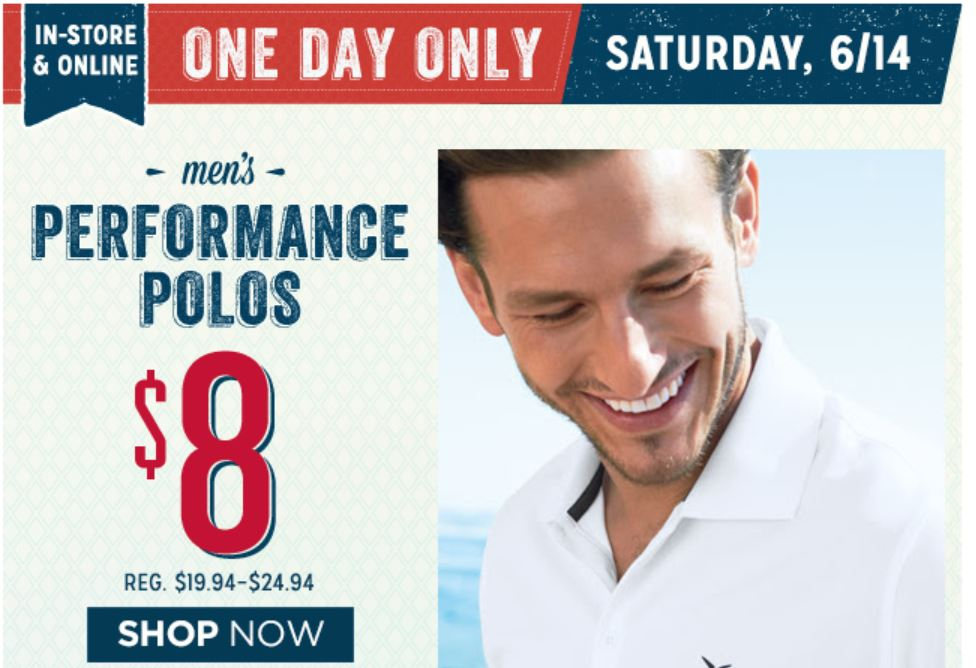 polos Old Navy: $8 Men's Performance Polos + 50% Off Select Women's Styles TODAY ONLY