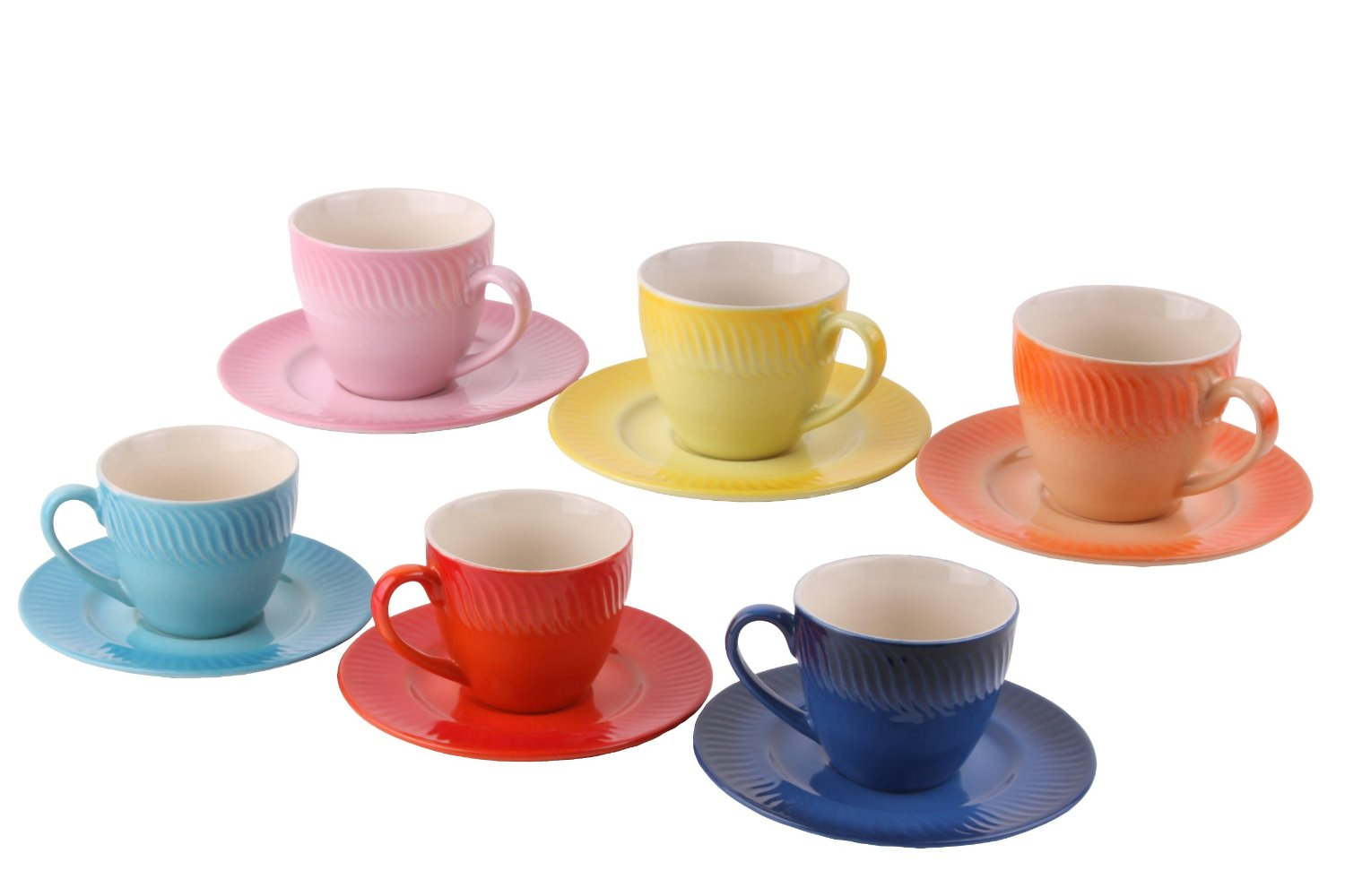 set of  ceramic espresso cups and saucers only  (reg ) - saucer and cups