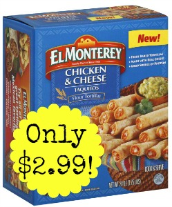 71007403705 El Monterey Taquitos or Mini Chimis only $2.99 at Kroger!