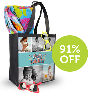 BEACH Custom Photo Beach Bag only $0.99 (Reg $9.99)!