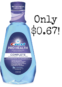 Complete clean Mint Crest Pro Health Mouthwash only $0.67 at Walgreens!
