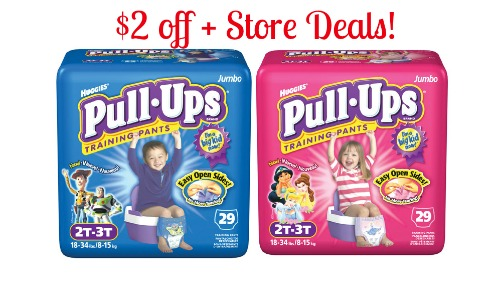 Huggies Pull Ups  $2 off Huggies Pull ups Training Pants Coupon + Store Deals!