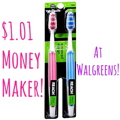 Reach Advanced Design Toothbrush 2 Pack 1 $1.01 Money Maker on Reach Toothbrushes at Walgreens! Starts 7/20