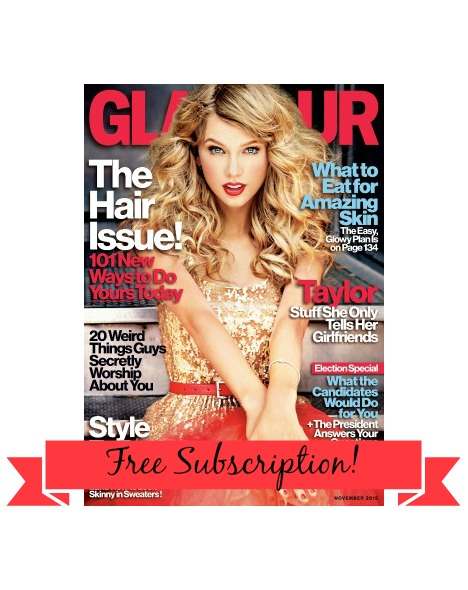 Taylor Swift Glamour Magazine November 2012 011 FREE Glamour Magazine Subscription!