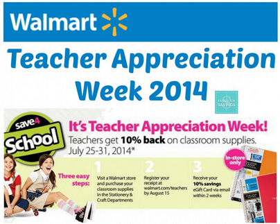 Teacher Appreciation Week2 HOT! Teacher Appreciation Week at Walmart   Teachers get 10% Back on School Supplies!