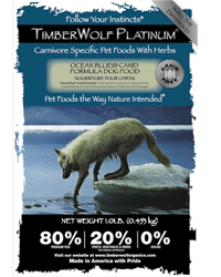 The goal of Timberwolf Organics is to create pet food that mimics the diet of dogs and cats in the wild. TIMBERWOLF DOG FOOD REVIEW. Timberwolf's dry dog food formulas are made with meat meals that are specificially designed to be low in ash, while high in protein. For example, Timberwolf's lamb meal is 70% protein, and 8% ash.