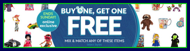 bogo HOT! DisneyStore.com: Buy 1 Get 1 FREE Toys, Clothes, Home Decor & More LAST DAY!