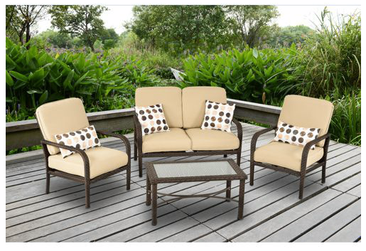 Cadence Wicker 4 Piece Patio Conversation Set Only 199 Reg 499 Free Shipping