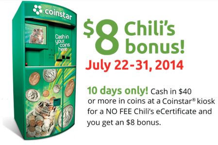 coin FREE $8.00 Chilis E Certificate with CoinStar!