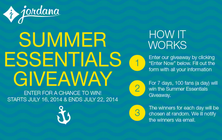 free2 Enter Daily: Jordana Summer Essentials Giveaway  700 Winners!