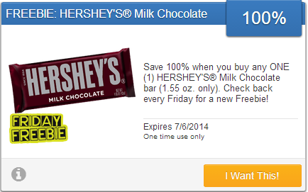 hersheys coupon *HOT* Free Hersheys Milk Chocolate Bar!