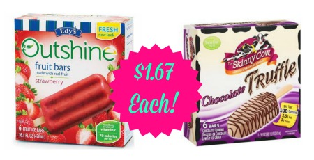 icecream Edys Outshine Bars and Skinny Cow Ice Cream Only $1.67 Each at CVS!