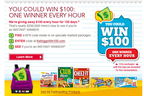 kelloggs1 Kelloggs Snacks Back to School Instant Win Game  $100 Winners Every Hour For 120 Days!