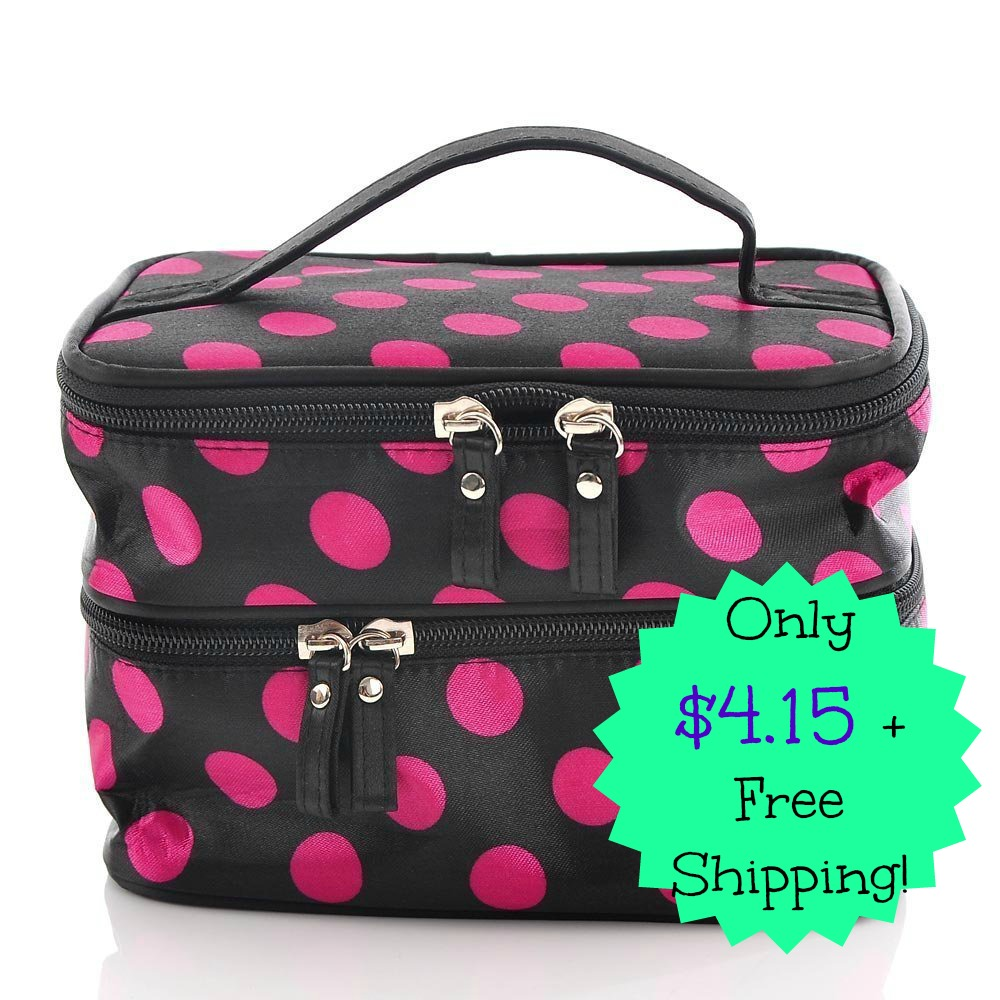 makeupbags Double Layer Polka Dot Cosmetic Bag Only $4.15 + FREE Shipping!