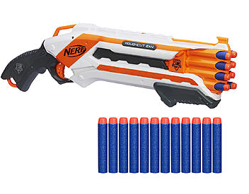 nerf bundle Nerf N Strike Elite Rough Cut 2X4 Blaster & Elite Dart Refill Bundle only $14.49 (reg $28.98)