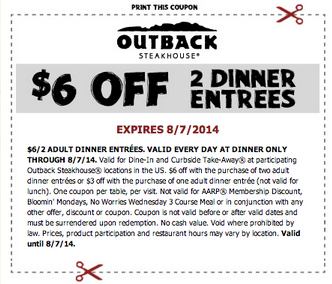 outback6off2 Outback Steakhouse: $6 Off 2 Dinner Entrees
