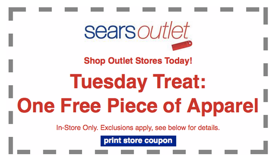 outlet FREE Piece of Apparel at Sears Outlet!