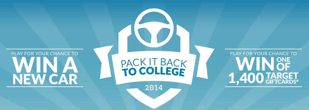 packitback Pack It Back to College Instant Win Game  Win 1 of 1400 Target Gift Cards, College Dorm Packs, and More!