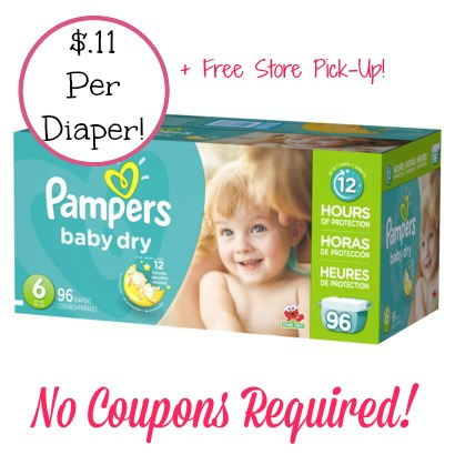 pampers HOT! Pampers Diapers Only $.11 Each + FREE Store Pick Up! No Coupons Required!