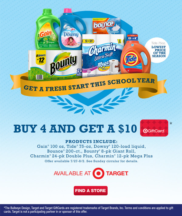 pg HOT Stock Up Prices on Tide, Downy, Bounty, and More with FREE $10 Target Gift Card!