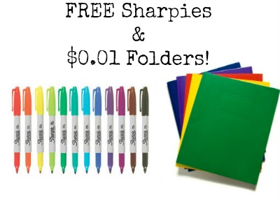 school Back To School Deals: Free Sharpies, $0.01 Folders and More!!!