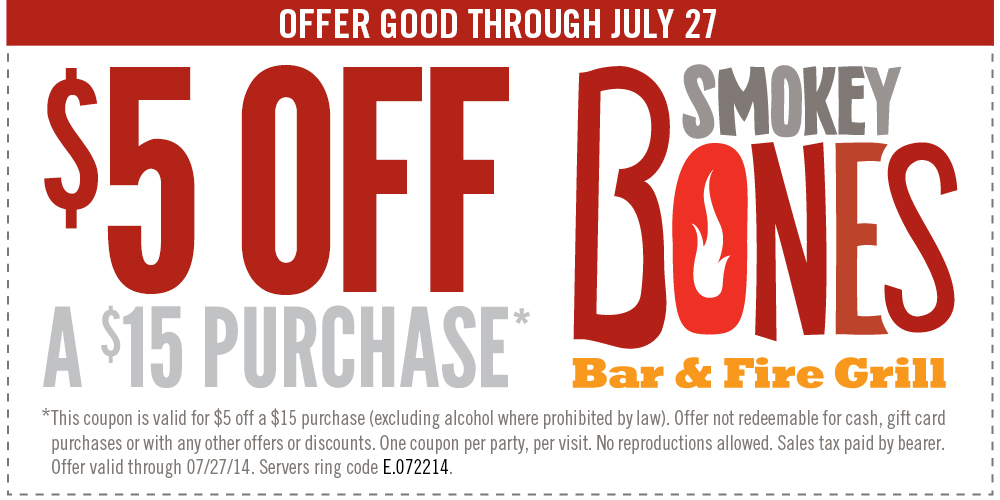 smokey bones Smokey Bones: $5.00 off $15.00 Purchase Printable Coupon!