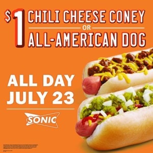 sonic coney Sonic: $1 Chili Cheese Coney or All American Dog!