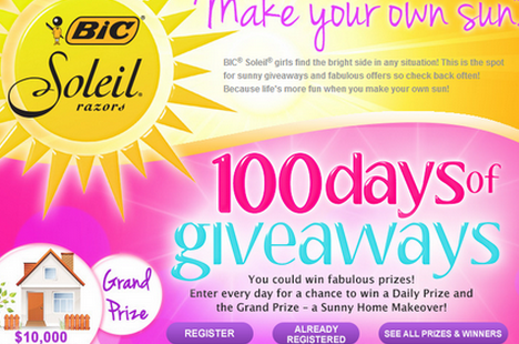 sun FREE BIC SOLEIL 100 Days of Giveaways!