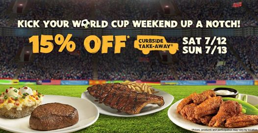 takeaway Outback Steakhouse: 15% Off Your Curbside Take Away Purchase Tonight Only