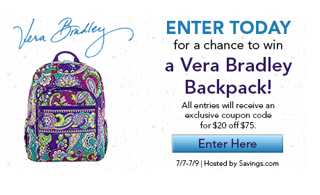 vera bradley backpack contest Win one of 95 Vera Bradley Backpacks ($109 value)