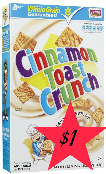 Cinnamon Toast Crunch Box Small1 General Mills Cereals Only $1 a Box at Target!