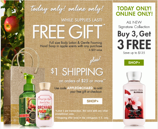 bathandbodyworks2 FREE Gift from Bath and Body Works with ANY Purchase ($22 Value) + $1 Shipping!