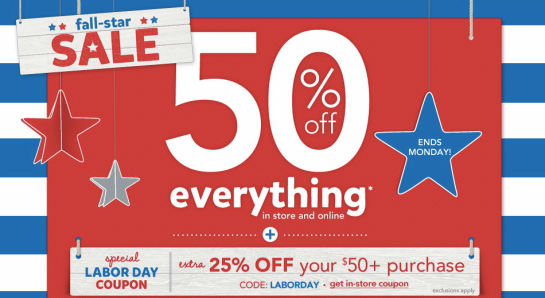 Carter's: 50% Off Everything + 25% Off Coupon, Hot Retail Deals, Labor Day Sales, Kid's Clothing, Labor Day Clothes, Carter's Coupons