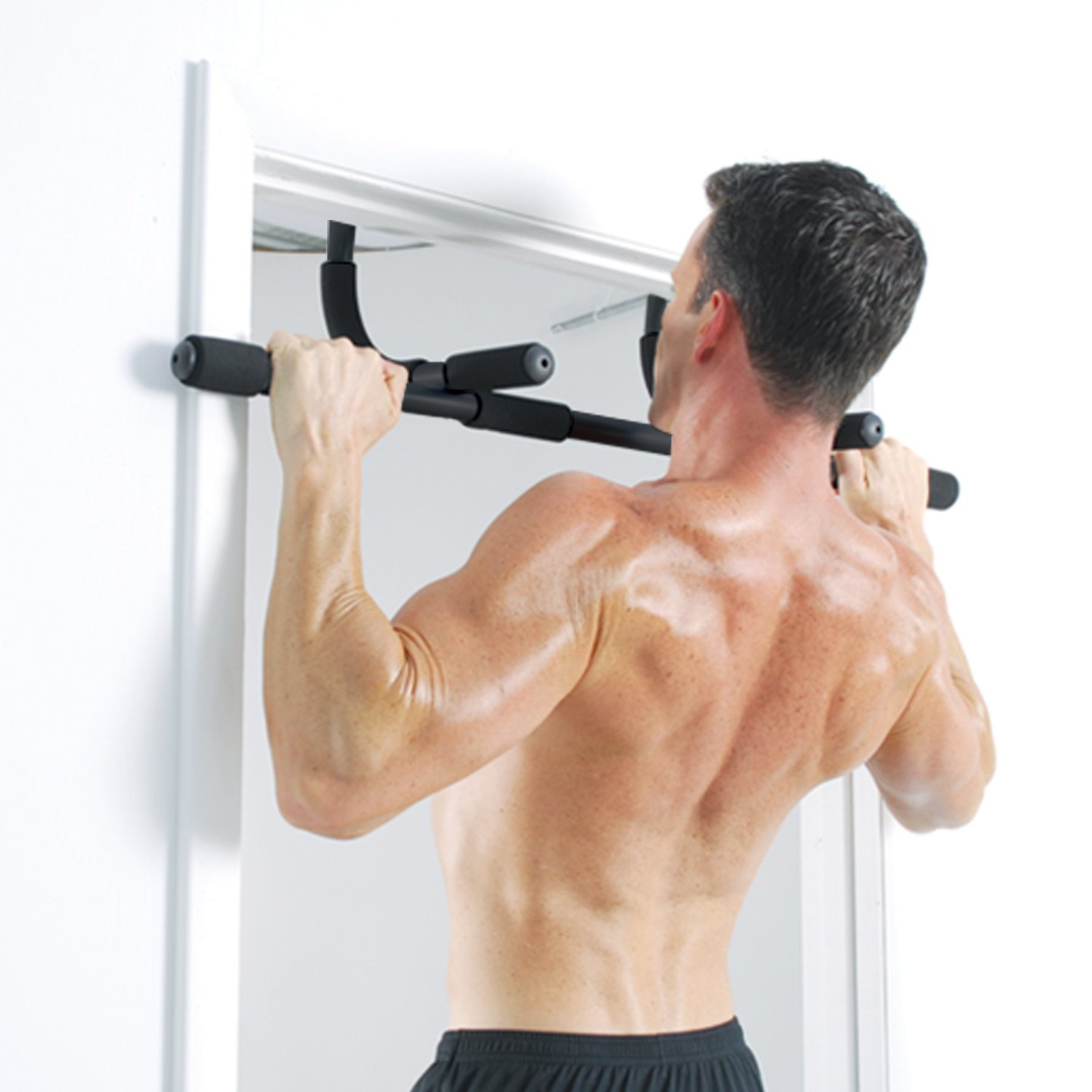 Iron gym express chin up bar archives for Door frame pull up bar