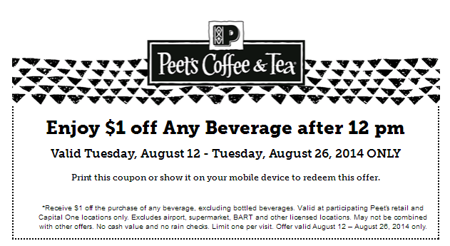 coffee Save $1.00 off Peets Coffee!