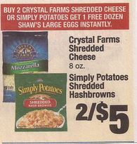 crystal + shaws Crystal Farms Shredded Cheese Only $2 + a FREE Dozen Eggs!