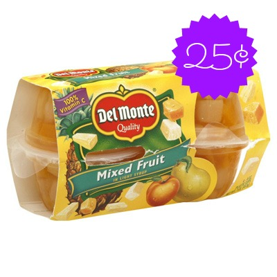 del monte Del Monte Fruit Cups 4pk Only $.25 at Dollar Tree!