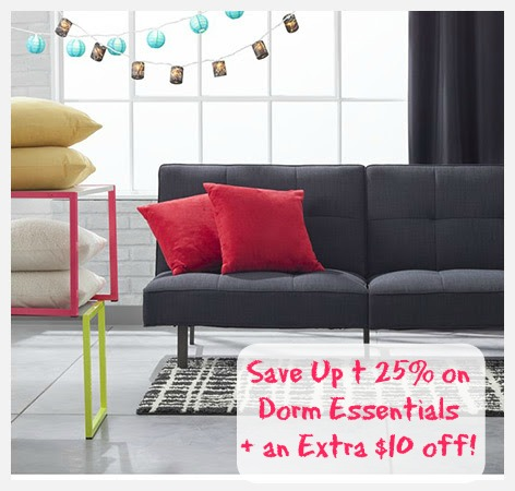 dorm Target: Save Up to 25% off Dorm Essentials + An Extra $10 off!