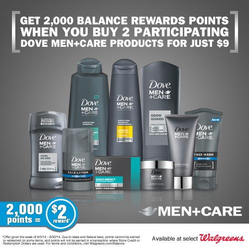 dove Buy Dove Men+Care get 2,000 Balance Rewards + Enter to Win $50 Walgreens Gift Card & Gift Pack!
