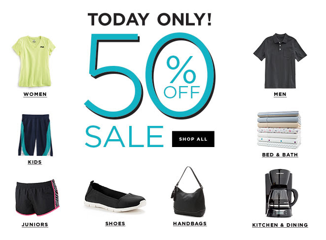 kohls sale4 Kohls 50% off + 15% off Coupon code    Clothing, Bedding, Shoes and more!